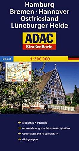9783826419027: ADAC StraáenKarte Deutschland 02. Hamburg, Bremen, Hannover, Ostfriesland, L neburger Heide 1:200 000