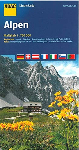 9783826420924: ADAC LänderKarte Alpen 1 : 750 000: Registerheft: Legende, Citypläne, Alpenübergänge, Ortsregister mit Postleitzahlen. Karte: Sehenswürdigkeiten, ... Nationalparks, landschaftlich schöne Strecken