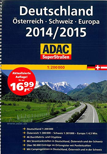 9783826422294: ADAC SuperStraßen Deutschland, Österreich, Schweiz, Europa 2014/2015