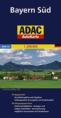 9783826423123: ADAC AutoKarte Deutschland 13. Bayern Süd 1 : 200 000: Registerheft: Zufahrtskarten und Citypläne, umfangreiches Ortsregister mit Postleitzahlen. ... möglicher Staustrecken auf Autobahnen