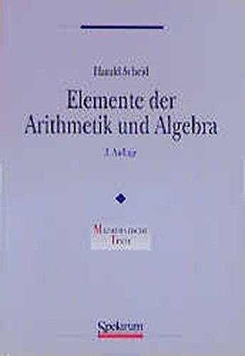 9783827400819: Elemente Der Arithmetik Und Algebra