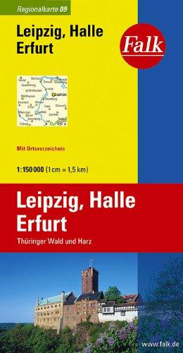 9783827918093: Falk Regionalkarte 09. Leipzig, Halle, Erfurt. 1 : 150 000: Thüringer Wald und Harz