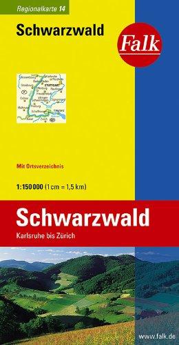 9783827918147: Falk Regionalkarte 14. Schwarzwald. 1 : 150 000: Karlsruhe bis Zürich. Mit Ortsverzeichnis