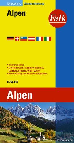 Falk Länderkarte Alpen 1 : 750 000: Ortsverzeichnis. Citypläne Genf, Innsbruck, Mailand, Salzburg, Venedig, Wien, Zürich. Hervorhebung von Sehenswürdigkeiten