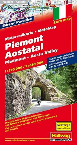 9783828307513: Piemont / Aostatal Motorradkarte 1 : 250 000 / 1 : 650 000: Die schönsten Motorradstrecken mit Sehenswürdigkeiten und Herbergen