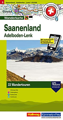 9783828308046: Hallwag Touren-Wanderkarte 05. Saanenland 1 : 50 000: 33 Wandertouren