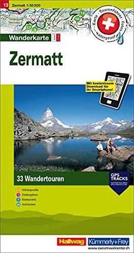 9783828308411: Hallwag Touren-Wanderkarte 13 Zermatt 1 : 50 000: mit 33 Wandertouren. Karten, Tourenführer, Fotos, waterproof, Höhenprofile, Zeitangaben, ... / Mit kostenlosem Download für Ihr Smartphone
