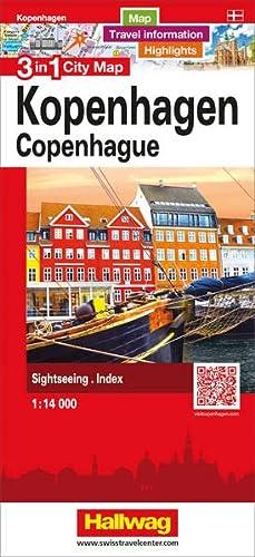 Copenhagen 3 in 1 City Map, 1:14,000 (English, French, Italian and German Edition): Hallwag