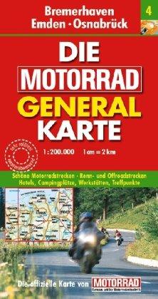 9783829720892: Die Motorrad Generalkarte Deutschland 04. Bremerhaven, Emden, Osnabrück