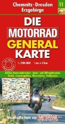 9783829720960: Die Motorrad Generalkarte Deutschland 11. Chemnitz, Dresden, Erzgebirge
