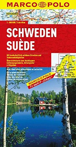 Sverige. Schweden: Mit landschaftlich schönen Strecken und Sehenswürdigkeitn. 1:800.000. Med natursköna sträckor och sevärdheter ; utfällbar översiktskarta, avstÃ¥ndstabell, ortnamnsförteckning, 6 stadskartor = Sweden : with scenic routes and places of interest ; fold-out overview map, distance table, index of place names, 6 city maps.