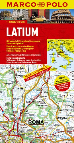 9783829740272: Italy - Lazio (Latium) Marco Polo Map (Marco Polo Maps (Multilingual))