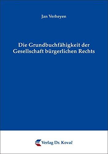 9783830042785: Die Grundbuchfähigkeit der Gesellschaft bürgerlichen Rechts