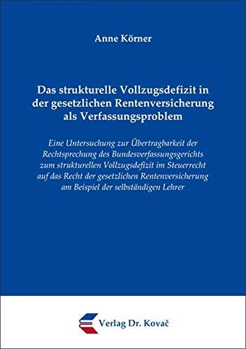 9783830054597: Das strukturelle Vollzugsdefizit in der gesetzlichen Rentenversicherung als V .