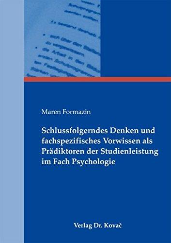 9783830055167: Schlussfolgerndes Denken und fachspezifisches Vorwissen als Prädiktoren der Studienleistung im Fach Psychologie