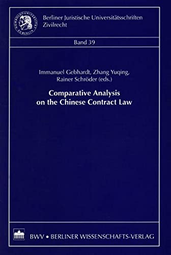 9783830503668: Comparative Analysis on the Chinese Contract Law