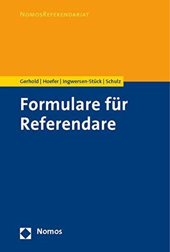 9783832955243: Formulare f�r Referendare
