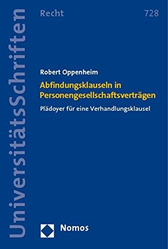9783832965099: Abfindungsklauseln in Personengesellschaftsverträgen: Plädoyer für eine Verhandlungsklausel