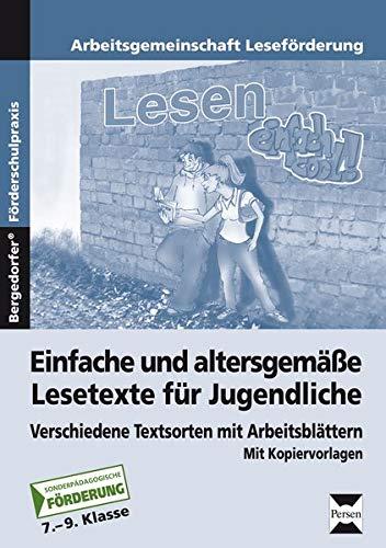 9783834437037: Einfache und altersgemäße Lesetexte für Jugendliche: Verschiedene Textsorten mit Arbeitsblättern