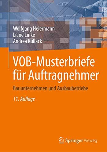 9783834802910: VOB-Musterbriefe für Auftragnehmer: Bauunternehmen und Ausbaubetriebe (German Edition)