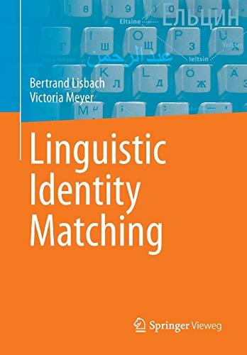 9783834813701: Linguistic Identity Matching