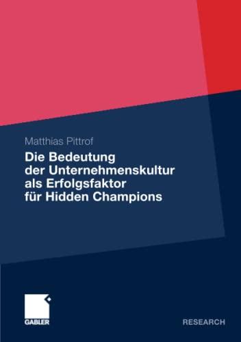 9783834928535: Die Bedeutung der Unternehmenskultur als Erfolgsfaktor für Hidden Champions