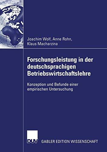 Forschungsleistung in der deutschsprachigen Betriebswirtschaftslehre: Joachim Wolf