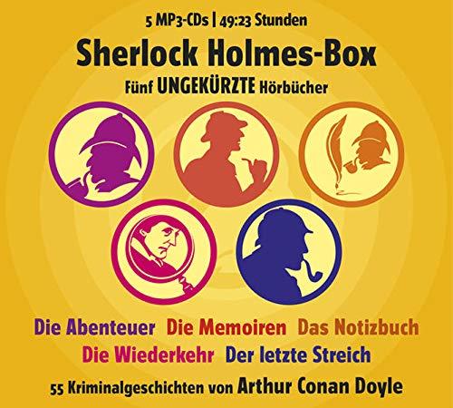 9783836807579: Sherlock Holmes-Box (DAISY): F�nf ungek�rzte H�rb�cher. Die Abenteuer - Die Memoiren - Die Wiederkehr - Der letzte Streich - 55 Kriminalgeschichten