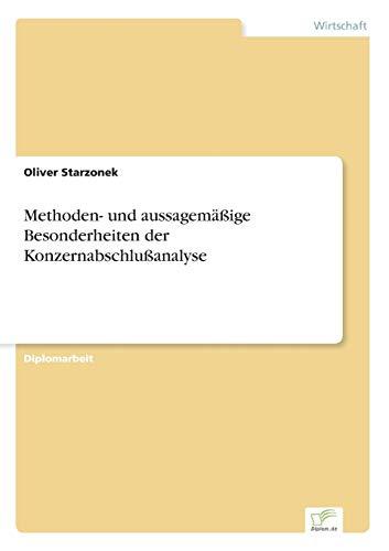9783838636092: Methoden- und aussagemäßige Besonderheiten der Konzernabschlußanalyse