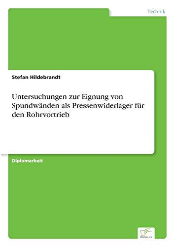 9783838641744: Untersuchungen zur Eignung von Spundwänden als Pressenwiderlager für den Rohrvortrieb