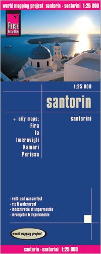 9783839991022: Santorini (Thira, Greece) 1:25,000 Hiking Map, waterproof, GPS-compatible with 5 town plans REISE