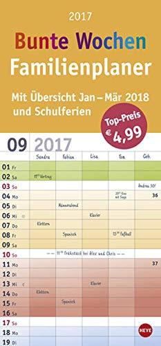 9783840146817: Familienplaner Bunte Wochen - Kalender 2017