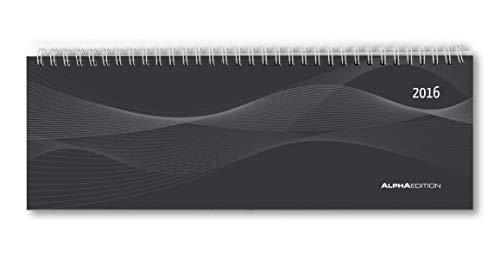 9783840766190: Tisch-Querkalender PP-Cover schwarz 2016 - Tischkalender / Bürokalender (29,7 x 10,5) - 1 Woche 2 Seiten