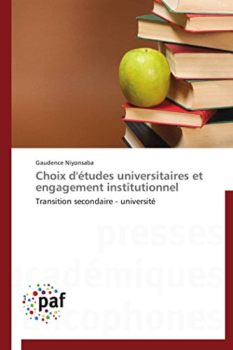 Choix DEtudes Universitaires Et Engagement Institutionnel: Gaudence Niyonsaba