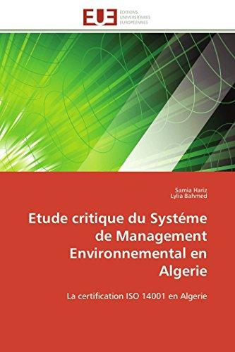 Etude Critique Du Systeme De Management Environnemental: Samia Hariz, Lylia