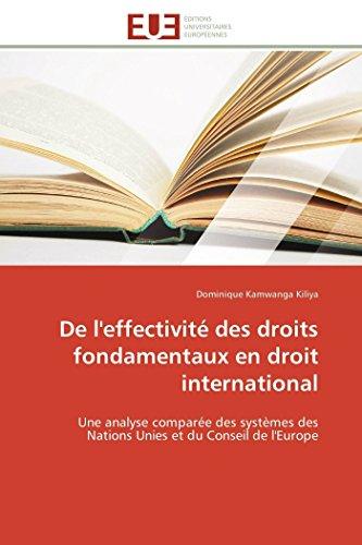9783841794338: De l'effectivité des droits fondamentaux en droit international: Une analyse comparée des systèmes des Nations Unies et du Conseil de l'Europe