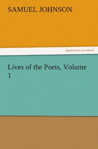 9783842472655: Lives of the Poets, Volume 1 (TREDITION CLASSICS)