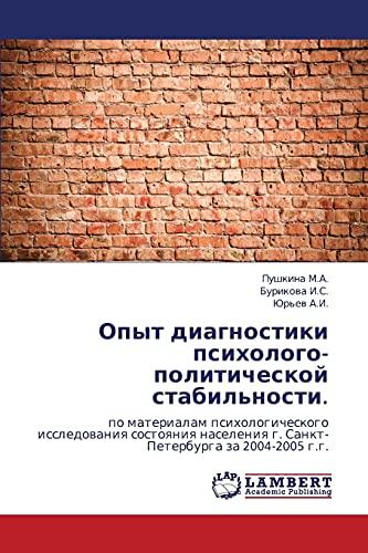 Opyt Diagnostiki Psikhologo-Politicheskoy Stabilnosti.: Pushkina M. A.
