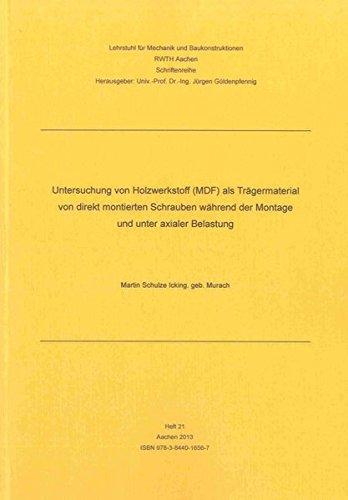 Untersuchung von Holzwerkstoff (MDF) als Trägermaterial von direkt montierten Schrauben w&auml...
