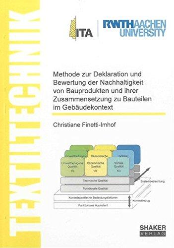 9783844026184: Methode zur Deklaration und Bewertung der Nachhaltigkeit von Bauprodukten und ihrer Zusammensetzung zu Bauteilen im Gebäudekontext