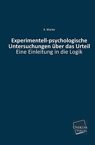 9783845740928: Experimentell-Psychologische Untersuchungen Uber Das Urteil (German Edition)