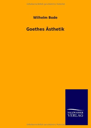 9783846036334: Goethes Asthetik (German Edition)