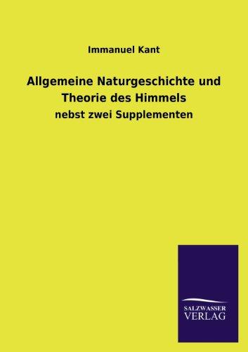 9783846041895: Allgemeine Naturgeschichte Und Theorie Des Himmels (German Edition)