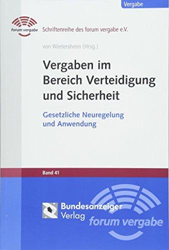 Vergaben im Bereich Verteidigung und Sicherheit: Mark von Wietersheim