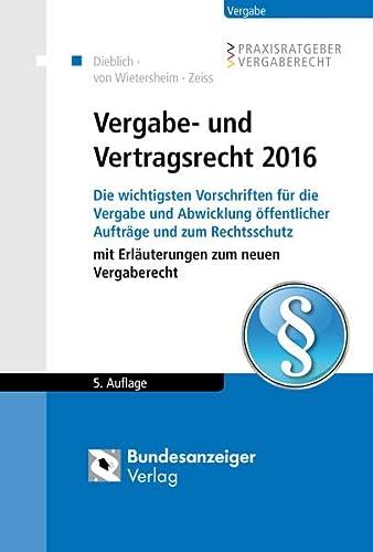 9783846206256: Vergabe- und Vertragsrecht 2016