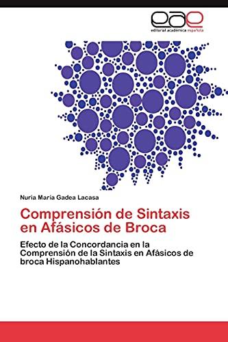 9783848451791: Comprension de Sintaxis En Afasicos de Broca