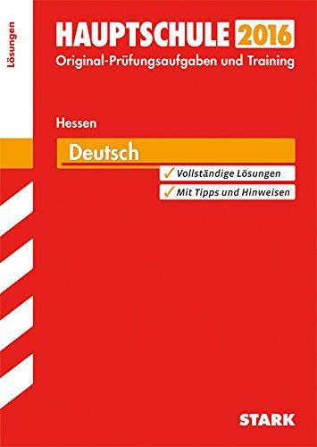 9783849016753: Abschlussprüfung Hauptschule Hessen - Deutsch Lösungsheft