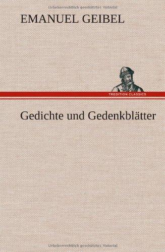 9783849105334: Gedichte und Gedenkblätter