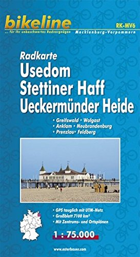 9783850002103: Usedom/Stettiner Haff/Ueckermunder Heide Cycle Map GPS: BIKEK.DE.MV6
