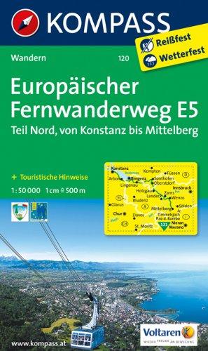 9783850264600: Europäischer Fernwanderweg E5 - Teil Nord Konstanz / Mittelberg (Pitztal) 1 : 50 000: Wanderkarte mit Kurzführer und Höhenprofilen